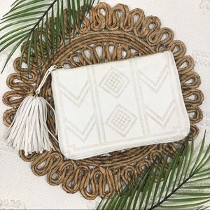 Merona White Faux Leather Tribal Tassel Clutch